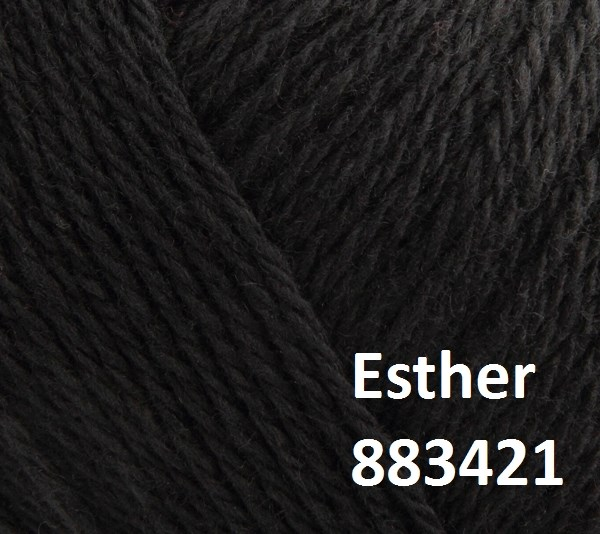 Esther by Permin garn i uld/bomuld. Farve 883421 Sort